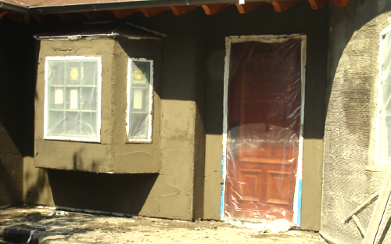 Front of house during remodeling